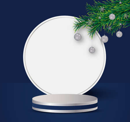 christmas and happy new year mock up scene, podium shape for show cosmetic product display stage 3d.