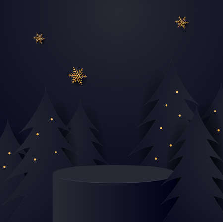 Abstract minimal mock up scene. geometry podium shape for show cosmetic product display. stage pedestal or platform. winter christmas black background Foto de archivo