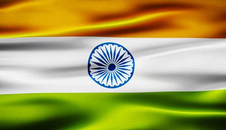 waving flag of india 3d illustration background Foto de archivo