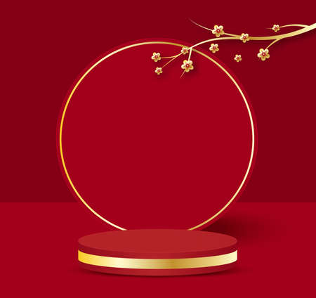 3D illustration Chinese New Year red and golden theme product display podium with branch of flower Foto de archivo