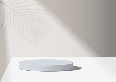 abstract minimal scene with geometric forms. cylinder white podium in white background with leaves. product presentation, mock up, show cosmetic product, Podium, stage
