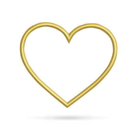 golden hearts frame isolated on white background