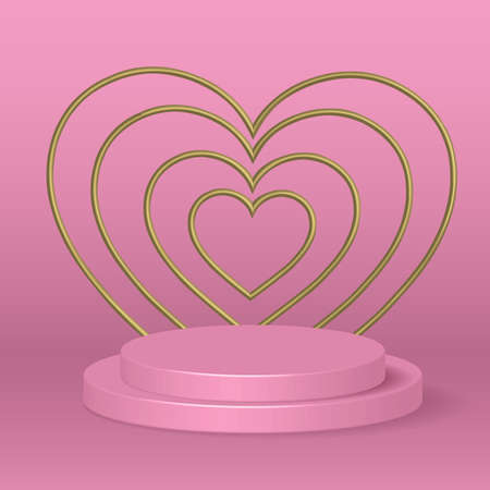 poduim 3d rendering abstract geometric shape pink pastel color.backdrop  for cosmetic product display. fashion beauty vector background with gold heart shape,illustration EPS10.