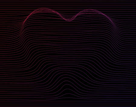 Abstract heart line distortion gradient color vector background