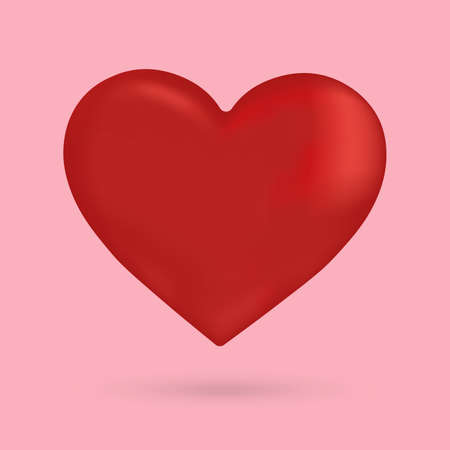 Red heart vector 3d on the pink background,illustration