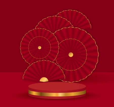 3d background template with the stage podium and red fans gold decoration red background,illustration  .