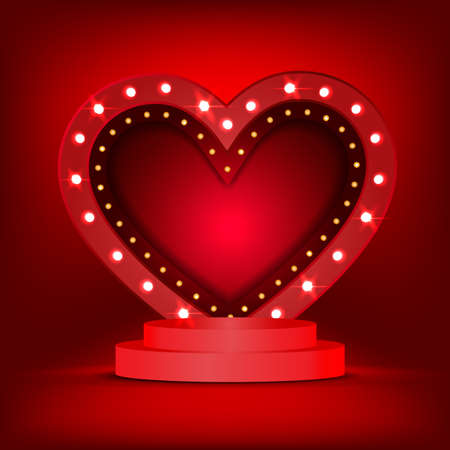 3d background template with the stage podium and Light bulbs vintage neon glow heart frame illustration