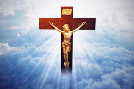 Jesus Christ on sky with a shining sun lightning
