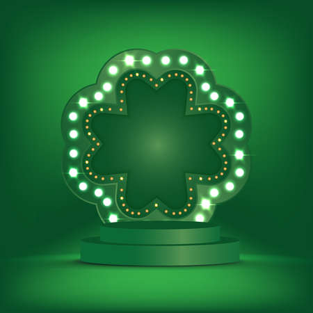 Patrick's Day. Vector illustration of Patrick's Day 3d background template with the stage podium and Light bulbs vintage neon glow frame vector illustration EPS10.