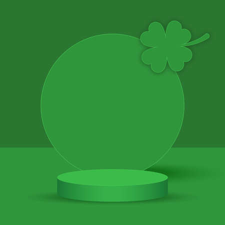 Podium backdrop with empty cube box with clover leaf for cosmetic product display. fashion beauty green background,illustration Foto de archivo