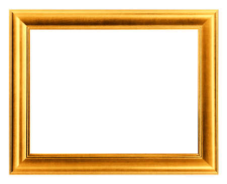 gold picture frame white wood frame Foto de archivo