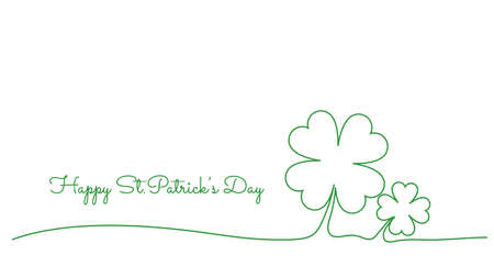Continuous line drawing of Happy Saint Patrick's Day Irish celebration design with clover leave out line,illustration  .