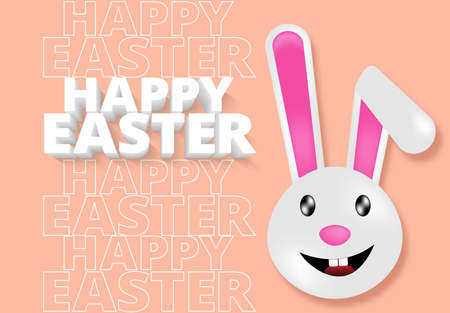 Happy Easter day rabbit happy easter 3d text greeting card ,illustration EPS10