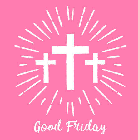Good Friday. trendy minimal style Background with white cross on pink background. Vector illustration.