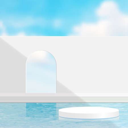 3d render, Surreal  landscape with white wall and pool with the blue sky. Modern minimal abstract background,illustration EPS10.