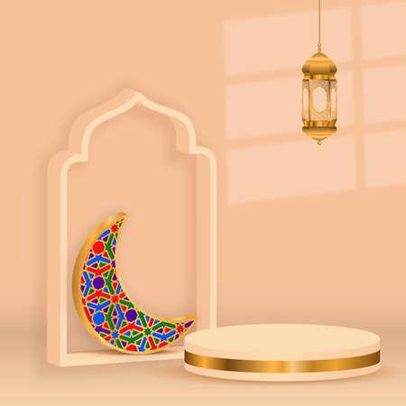 3d ramadan kareem background gold  crescent decoration with golden lamp and podium,illustration