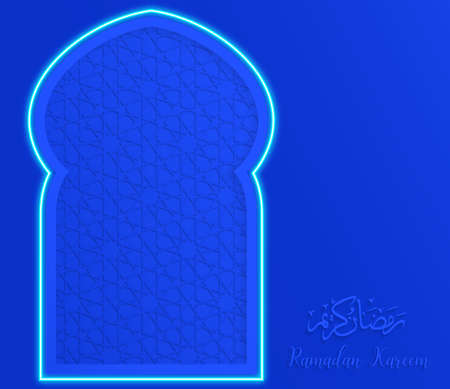ramadan backgrounds Translation of text : Ramadan Kareem mosque window neon light on arabian pattern blue background
