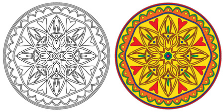 ethnics: Set of two decorative elements mandala in black and white and bright colors.