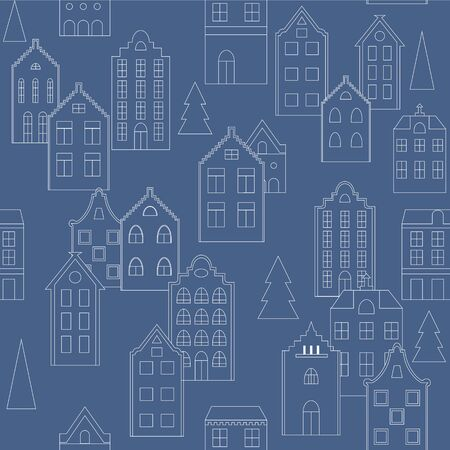 merry chrismas: seamless pattern background with European houses in blue and white. For wallpaper, backgrounds, decoration for your design, page fill and more.