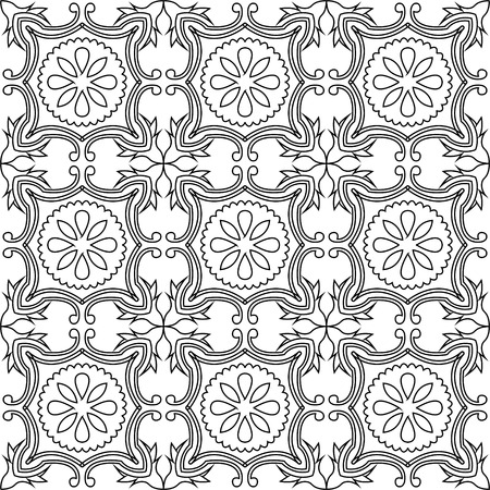 seamless tile: Traditional tile seamless pattern background in black and white.