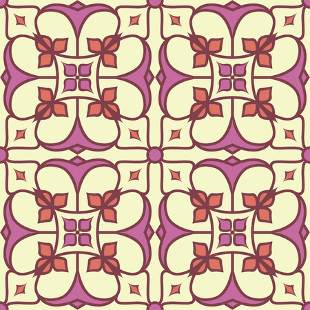 Traditional tile seamless pattern background in bright colors. Illustration