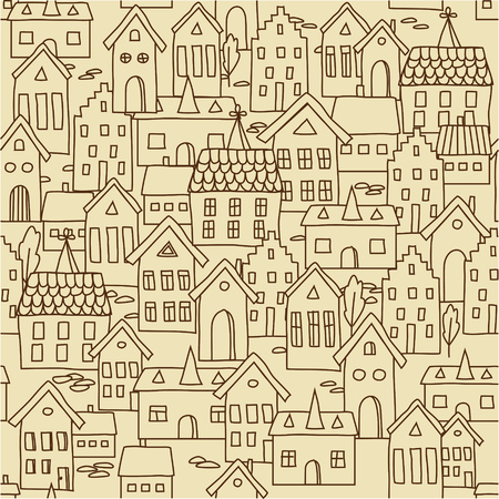 landscape architecture: Vector seamless pattern background with traditional european houses. Illustration