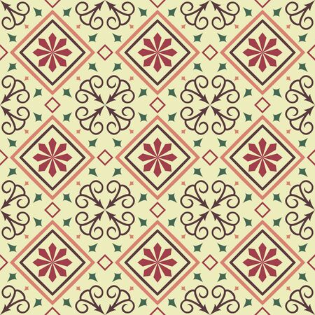 seamless tile: Traditional vector tile seamless pattern background in bright colors.
