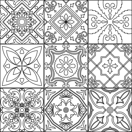 ornamented: Vector set of 9 ornamented tiles in black and white.