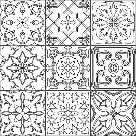 Vector set de 9 carreaux décorés en noir et blanc.
