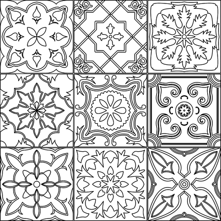 white tile: Vector set of 9 ornamented tiles in black and white.