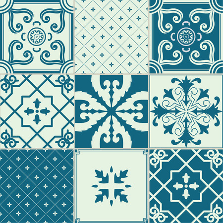 ornamented: Vector set of 9 ornamented tiles in blue and white.
