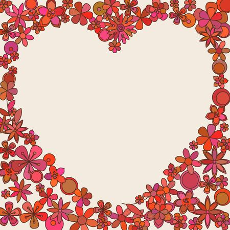 repetition: heart card template. Frame made of colorful flowers.