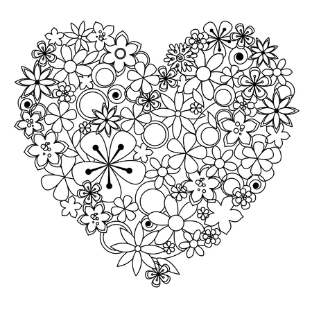 Vector decorative heart made of black an white flowers for coloring pages.