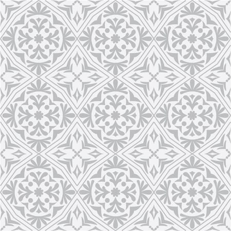 azulejos: Vector seamless pattern tile in grey. For wallpaper, card, page fill, decoration and more.