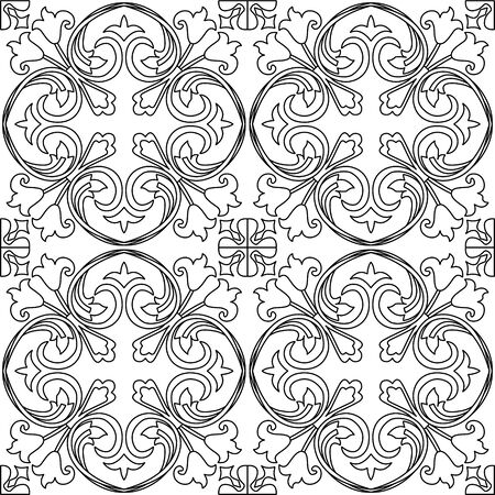destress: Black and white vector seamless pattern background. For coloring pages, decoration, page fill and more.