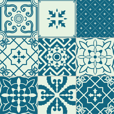 ornamented: Set of 9 ornamented tiles.For backgrounds, decoration for your design, ceramic, page fill and more.