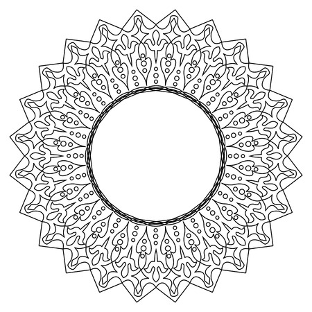 marco de encaje redondo blanco y negro. Tarjeta de felicitación con el lugar de texto. Ilustración de vector