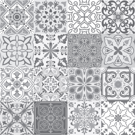 Big set of tiles background in grey. For wallpaper, backgrounds, decoration for your design, ceramic, page fill and more.
