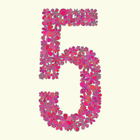 number five: Vector number five made of flowers.