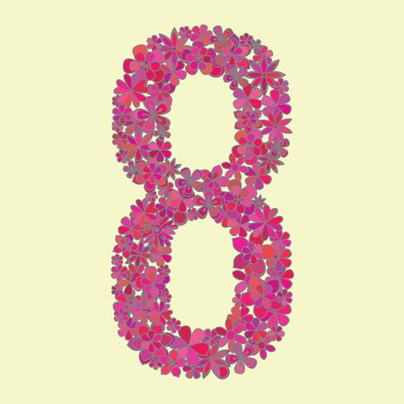 number eight: Vector number eight made of colorful flowers.