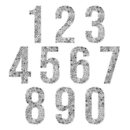 flower petals: Set of black and white numbers made of flowers. Illustration