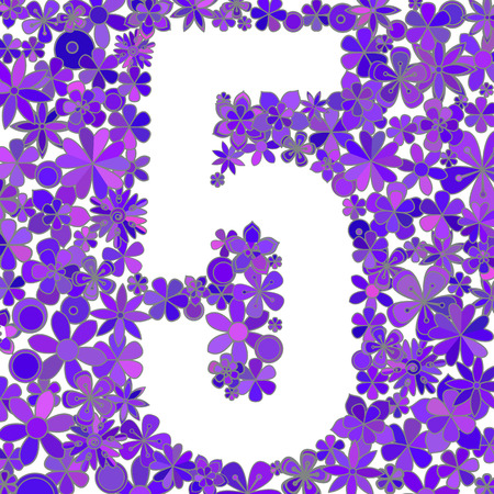 Number five made of colorful flowers on white background.