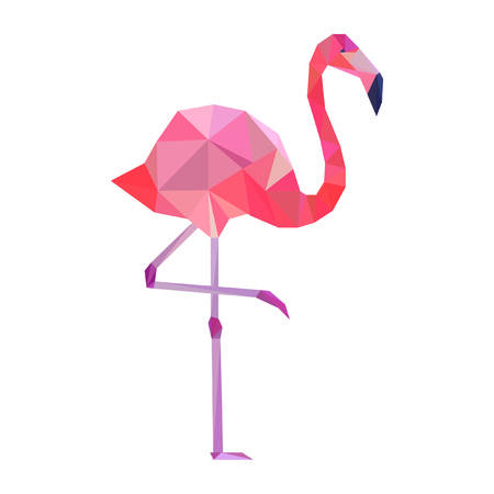 Vector pink polygonal flamingo.