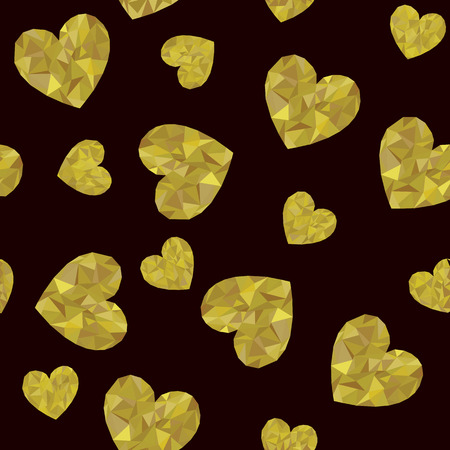 Seamless background made of golden polygonal hearts. Illustration