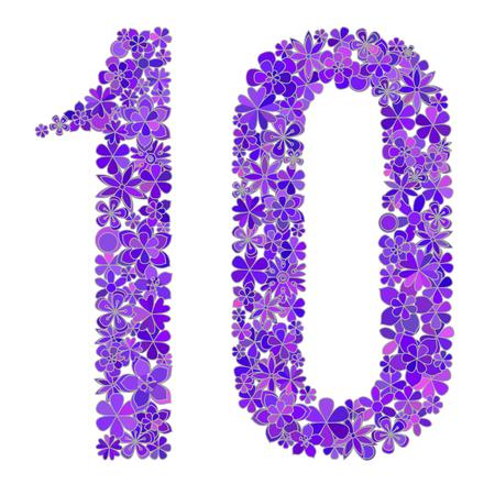 numero diez: vector de número diez hecha de flores de colores.