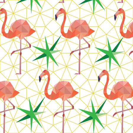 Vector seamless pattern background with pink polygonal flamingos.