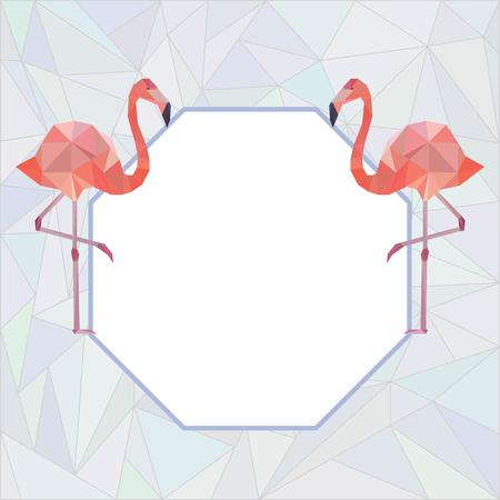 Vector decorative element with two polygonal flamingo. Vektorové ilustrace