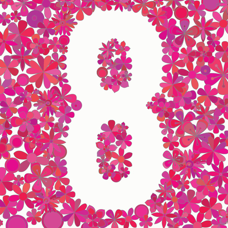 Number eight made of colorful flowers on white background.