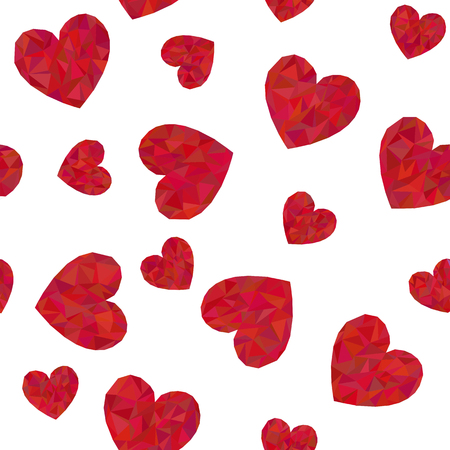 Seamless pattern with polygonal red hearts on white background.