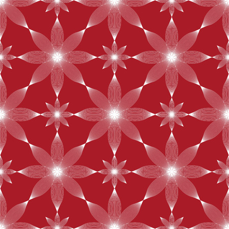 Seamless background in red. Geometric ornament pattern with repeating elements. Abstract flowers. Illustration